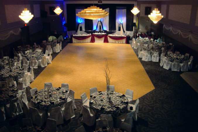 London Ukrainian Centre, a banquet hall dressed for wedding reception party