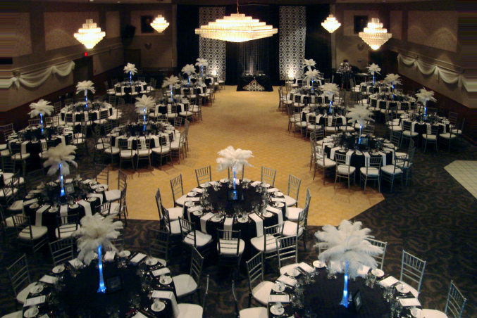 London Ukrainian Centre, a wedding hall dressed for wedding reception party