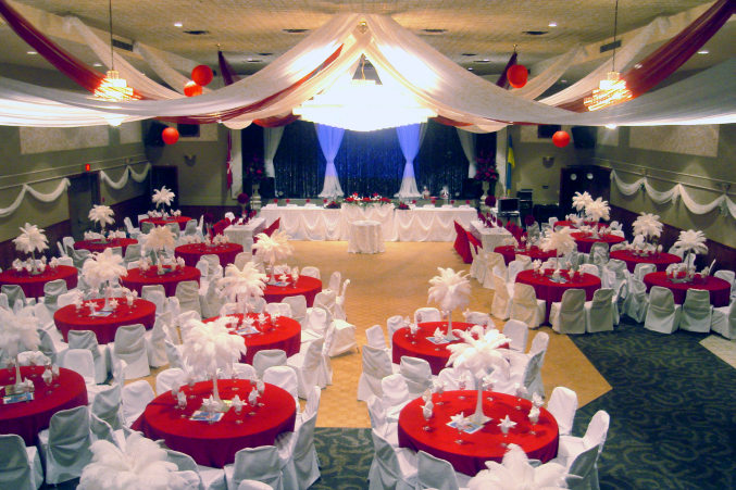 LUC in London Ontario, a wedding hall dressed for wedding reception party