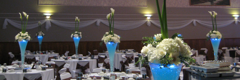 London Ukrainian Centre, London Ontario - Wedding Hall dressed for a wedding dinner and party celebration