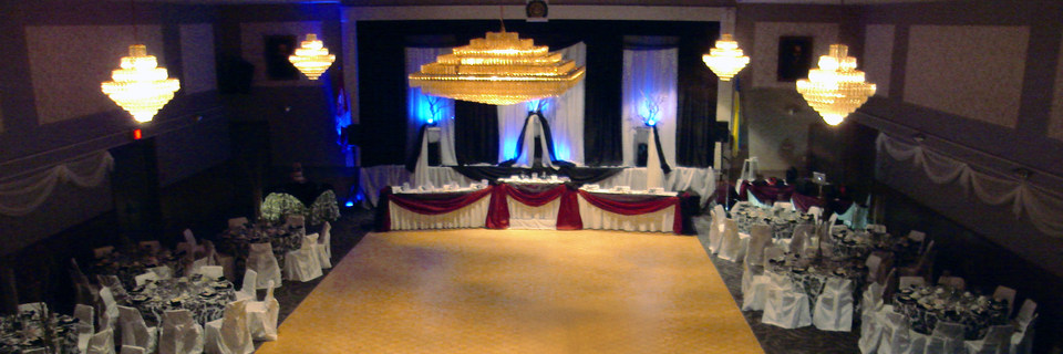 Grand Hall dressed for wedding celebration dinner and party. London Ukrainian Centre, London Ontario.